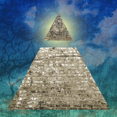 New world order pyramid illustration including the all seeing eye
