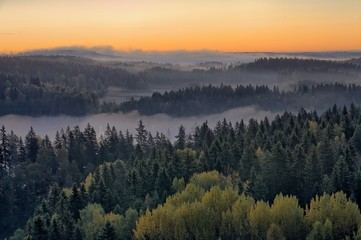 Foggy countryside sunrise in the morning. Beautiful landscape.