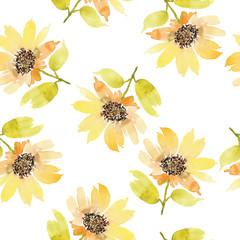 Seamless flowers pattern. Watercolor.