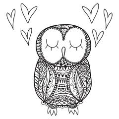 Cute decorative ornamental Owl fall in love, vector illustration