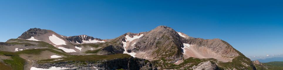 Top of the mountain Oshten. Lago-Naki plateau, Caucasus, Russia, summer. Panorama.