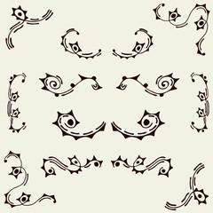 Set of vector elements. Swirls, circles and sticks.
