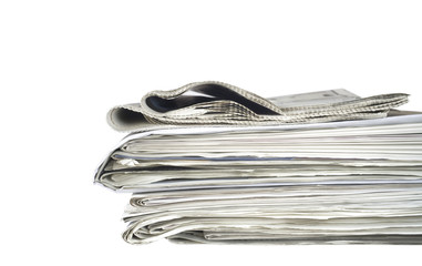 newspaper stack, isolated on white background, free copy space
