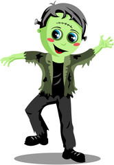 Smiling kid halloween frankenstein monster in a scary pose isolated