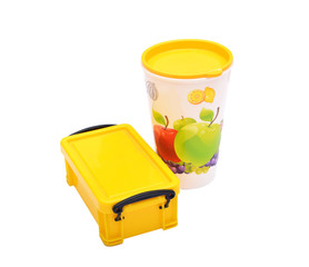 School Lunch box & Glass of Juice on White Background