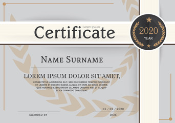 Certificate of achievement frame design template.