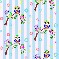 Cute colorful owls seamless pattern