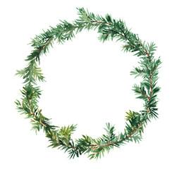 Spruce wreath - fir tree. Watercolor