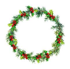 Christmas wreath - fir tree and mistletoe. Watercolor