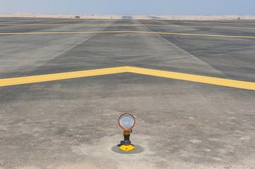 Approach lights at an airport runway