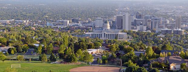Salt Lake City skyline with Capitol building, Utah, USA