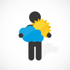 black silhouette of a man holds sun and cloud