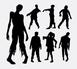Zombie horror people silhouettes. Good use for symbol, logo, web icon, mascot, or any design you want. Easy to use.