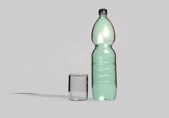 Bottiglia di plastica e bicchiere