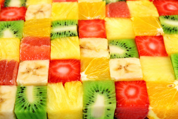 Sliced fruits background