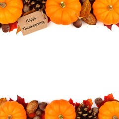 Happy Thanksgiving tag with autumn double border of pumpkins, leaves and nuts isolated on white