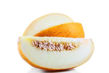 Sliced fresh melon isolated on white