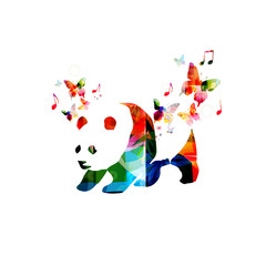 Colorful panda design with butterflies
