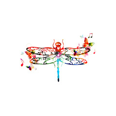 Colorful dragonfly design with butterflies
