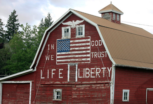 Patriotic Red Barn with Painted American Flag