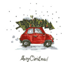 Vintage vector winter greeting card with red retro car