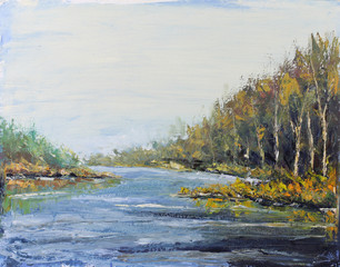 River in autumn forest, oil painting
