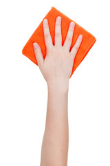 top view of hand with orange cleaning rag isolated