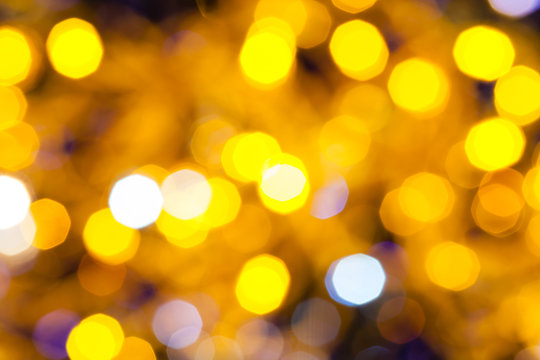 dark blue and yellow shimmering Christmas lights