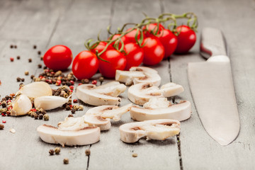 Sliced mushrooms and spices
