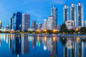 Cityscape shot of Benchakitti Park or Queen Sirikit National Convention Center.