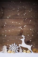 Fotorolgordijn Grijs Vertical White, Golden Christmas Card With Copy Space, Snowfalke