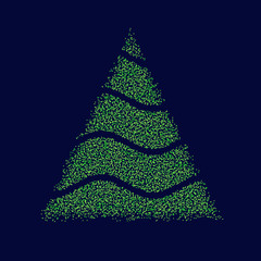 Christmas tree silhouette from circle blue background