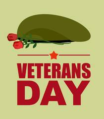 Soldiers green beret and flowers. Veterans Day. Vector illustrat