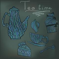 Tea time set card