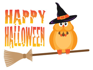 Halloween Owl on Broomstick Vector Illustration