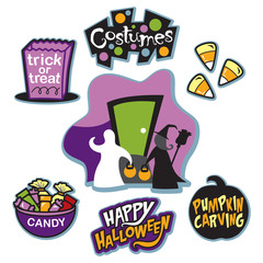 Trick or treat illustration collection, trick or treaters, and candy