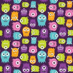 Cute Happy Flying Aliens, Seamless Pattern