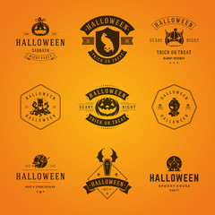 Halloween Badges and Labels, Greetings Cards vector design
