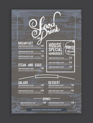 vintage mix hipster menu restaurant template and wood texture ba