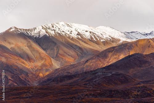 Wall mural Fall Color Snow Capped Peak Alaska Range Fall Autumn Season