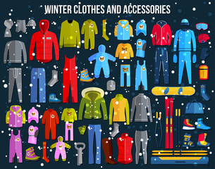 Big collection of cozy winter clothes and winter sport games