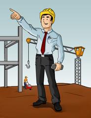 ilustración de contratista dirigiendo proyecto  de construcción y arquitectura