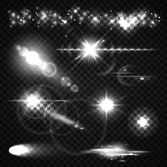 Set of Light effects, spotlights, flash, stars and particles for