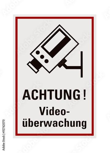 schild achtung video berwachung freisteller stockfotos und lizenzfreie bilder auf fotolia. Black Bedroom Furniture Sets. Home Design Ideas