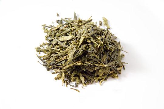 Japanischer Sencha Tee, weisser Untergrund