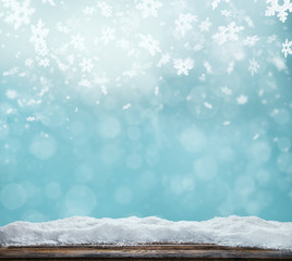 Winter abstract background with wooden planks