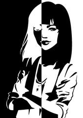 Portrait d'une femme en noir et en blanc aux bras croisés