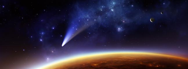 Fremder Planet mit Komet und zwei Monden