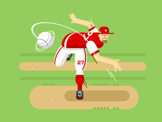 Baseball player cartoon character