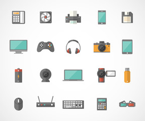 Set of technology and multimedia devices icons. Vector illustration